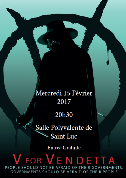 V for Vendetta- Mercredi 15 février 2017- 20h30- Saint Luc