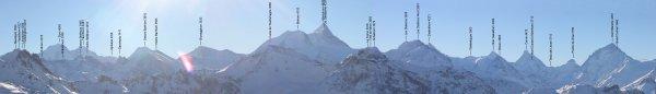"""Panorama légendé des """"4000"""" depuis le col des Ombrintzes à Saint-Luc"""